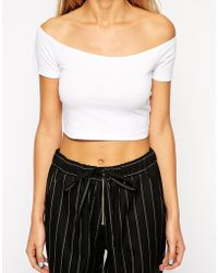 Asos Bardot Crop Top - Lyst