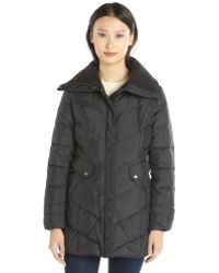 Cole Haan Black Quilted Down Zip Front 34 Length Puffer Jacket - Lyst