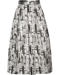 Lulu & Co - Metallic Jacquard Midi Skirt - Lyst