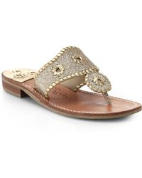 Jack Rogers Sparkle Leather Thong Sandals - Lyst