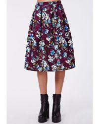Missguided Orler Floral Print Scuba Full Midi Skirt Purple - Lyst