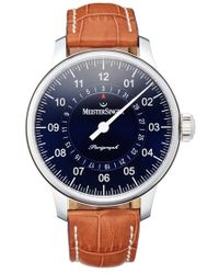 Meistersinger - 'perigraph' Automatic Leather Strap Watch - Lyst