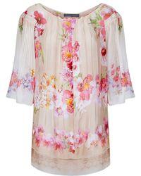 Alberta Ferretti Floral Silk Chiffon Tunic beige - Lyst