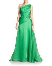 ML Monique Lhuillier Moire One-Shoulder Gown - Lyst