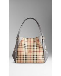 Burberry Small Haymarket Check and Leather Tote Bag - Lyst