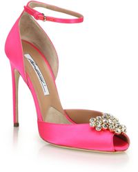 Brian Atwood | Embellished Satin Peep-toe Sandals | Lyst