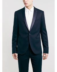 Topman Navy Jaquard Skinny Tux Blazer - Lyst