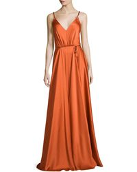 Catherine Deane   Sleeveless V-neck Belted Gown   Lyst