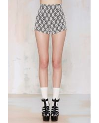 Nasty Gal Avalon Lace Shorts gray - Lyst