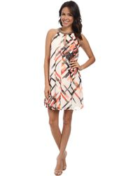Vince Camuto Short Trapeze With Keyhole Beaded Neck - Lyst