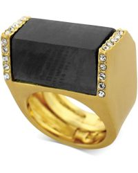 Vince Camuto - Goldtone Jet Stone and Crystal Block Ring - Lyst