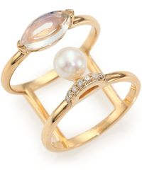 Phyne By Paige Novick - Olivia 5mm White Akoya Pearl, Moonstone, Diamond & 14k Yellow Gold Double-band Ring - Lyst