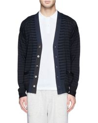 Sacai Contrast Knit Cotton Cardigan - Lyst