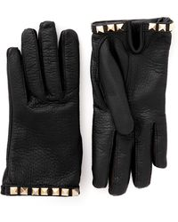 Valentino Rockstud Short Pebble Leather Gloves - Lyst