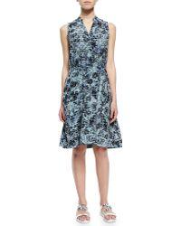 Rebecca Taylor Kiku Sleeveless Printed A-Line Dress - Lyst
