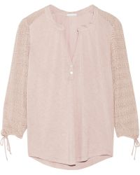 Eberjey Rosette Stretch-knit and Jersey Pajama Top - Lyst