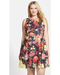 Adrianna Papell Print Lace Fit & Flare Dress - Lyst