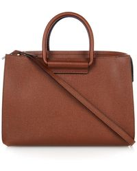 The Row Satchel Pebbled-Leather Tote - Lyst