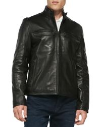 Andrew Marc Luxe Leather Moto Jacket - Lyst
