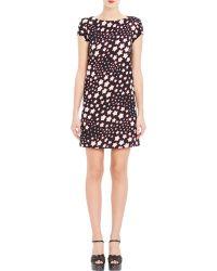 Saint Laurent Americana Star Crepe Shift Dress - Lyst