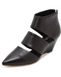 Belle By Sigerson Morrison Wagner Cutout Wedge Booties  Black - Lyst