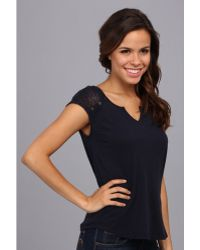 Lucky Brand Tanya Mixed Lace Top - Lyst