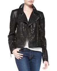 J. Mendel Lace Leather Moto Jacket - Lyst