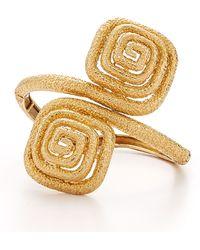 Fred Leighton - Estate Vintage 18K Yellow Gold Textured Bypass Cuff Bracelet - Lyst