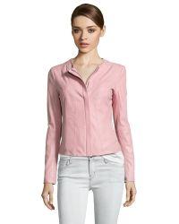 T Tahari Pink Leather 'Cora' Front Zip Jacket - Lyst