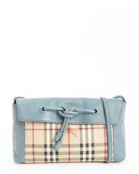 Burberry Powder Blue and Beige Leather Nova Check Accent Knot Detail Shoulder Bag - Lyst