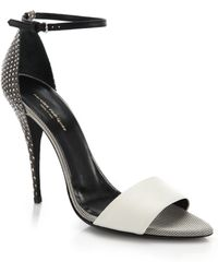 Narciso Rodriguez Alba Embossed-Leather Sandals gray - Lyst