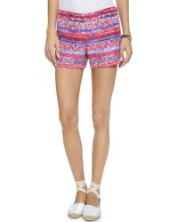 Tory Burch Soft Silk Short Shorts - Brilliant Red Mouline - Lyst