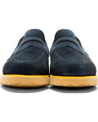 Mark McNairy New Amsterdam - Navy Suede Penny Loafers - Lyst