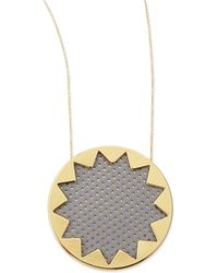 House of Harlow 1960 - Sunburst Perforated Pendant Necklace Gray - Lyst