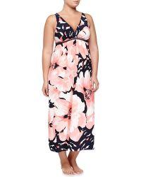 Oscar de la Renta Bold Blossoms Sleeveless Long Gown - Lyst