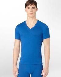 Calvin Klein Dual Tone Short Sleeve Vneck Tee - Lyst
