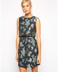 Oasis Winter Rose Jacquard Dress - Lyst