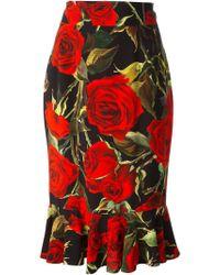 Dolce & Gabbana Rose Print Skirt - Lyst