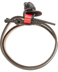 Alexander McQueen Black And Red Double Wrap Bracelet - Lyst