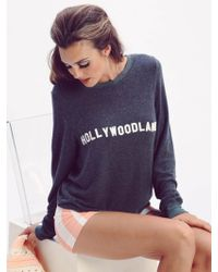 Wildfox | Hollywoodland Baggy Beach Jumper In Dirty Black | Lyst