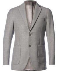 Al Duca D'aosta Grey Blazer With Elbow Patches - Lyst