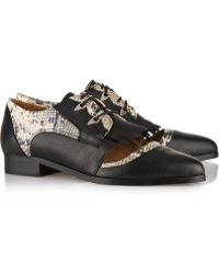 Thakoon Addition - Karolina 2 Panelled Snake-Effect Leather Brogues - Lyst