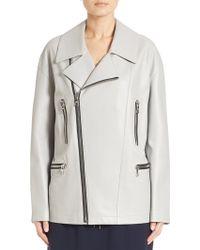 DKNY | Leather Asymmetrical Jacket | Lyst