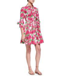 Michael Kors Peony-Print Poplin Shirtdress - Lyst