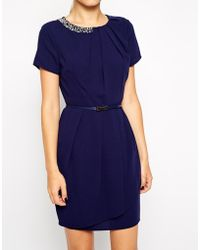Oasis Short Sleeve Dress with Neck Detail - Lyst