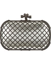 Bottega Veneta Grid Metallic Clutch Plat - Lyst