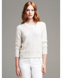Banana Republic Cable-Knit Crew Cropped Pullover - Lyst