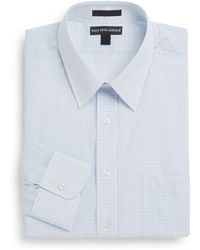 Saks Fifth Avenue Regular-Fit Graph-Check Two-Ply Cotton Dress Shirt - Lyst