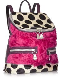 House of Holland - The Backpack and Sack Shearling Calf Hair and Leather Backpack - Lyst