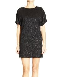 Balenciaga Dress Edition Short Sleeves Round Neck Cloque Lurex with Jewel Button On The Back - Lyst